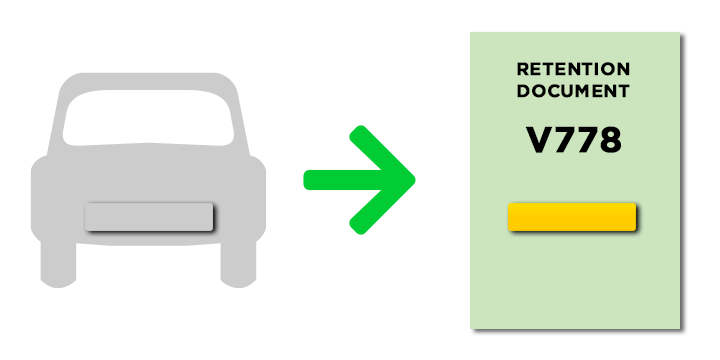 Graphic concept of a transfer from a vehicle to Retention Certificate