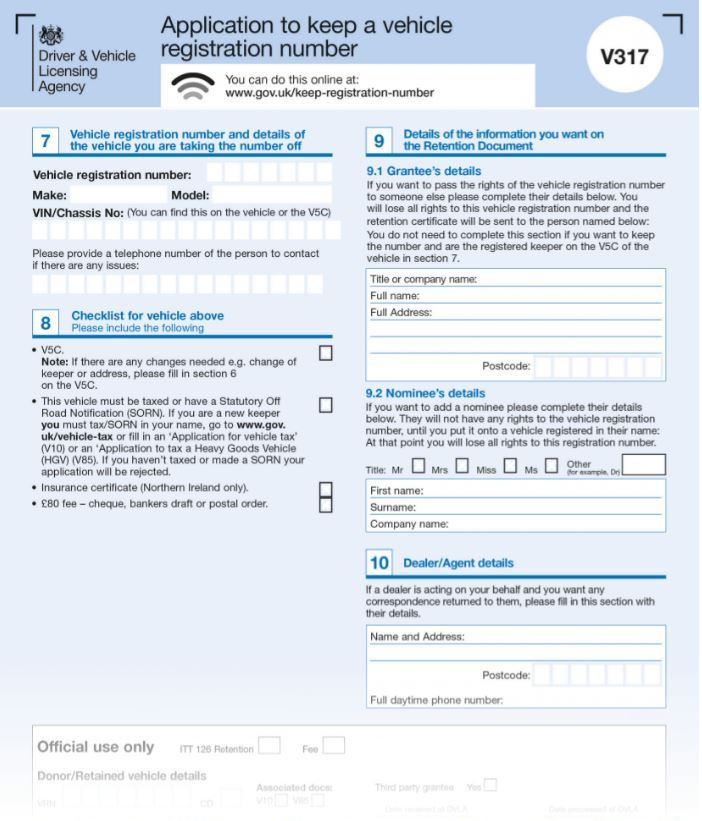 V317 Application to keep a vehicle registration, page 1