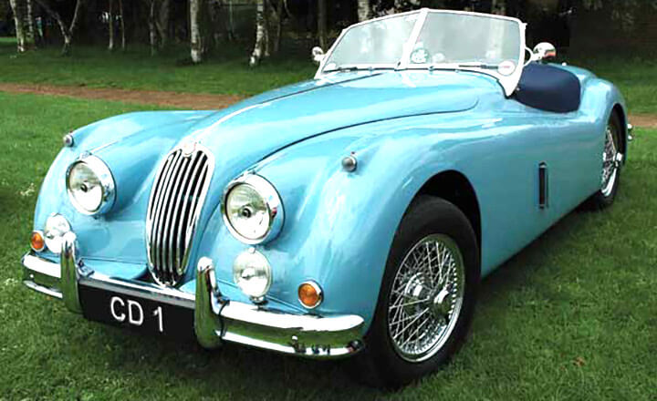 A classic jaguar with the registration CD 1