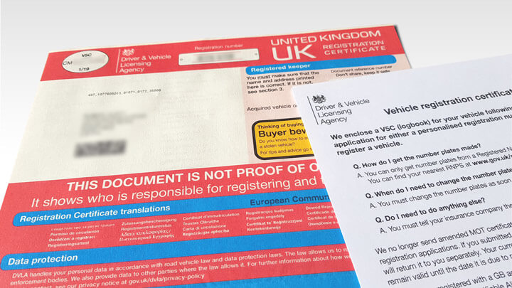 A photo of DVLA document V5C