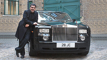 James Caan with his number plate 28 JC