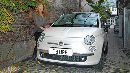 Kelly Hoppen with her number plate T8 UPE