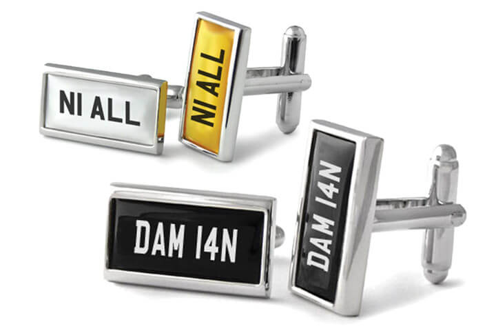 Vintage and contemporary number plate cufflinks